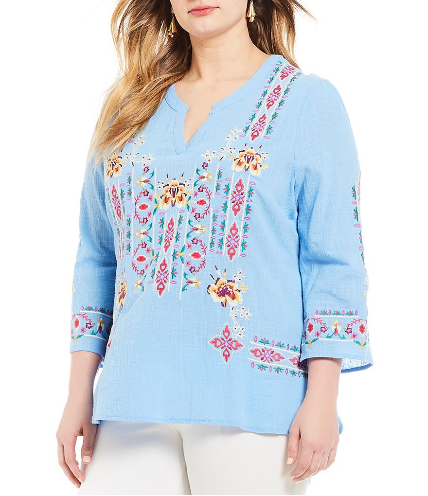 Calessa Plus Long Sleeve Embroidered Top