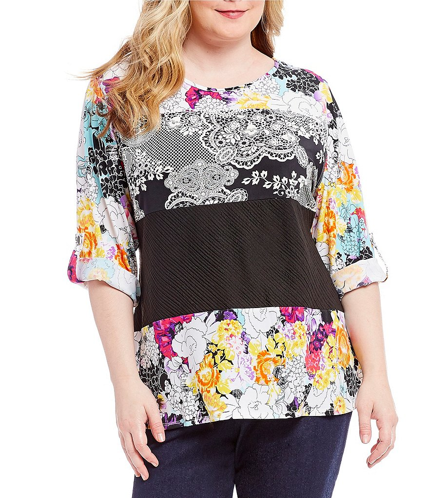 Calessa Plus Long Sleeve Floral Stripe Print Tunic