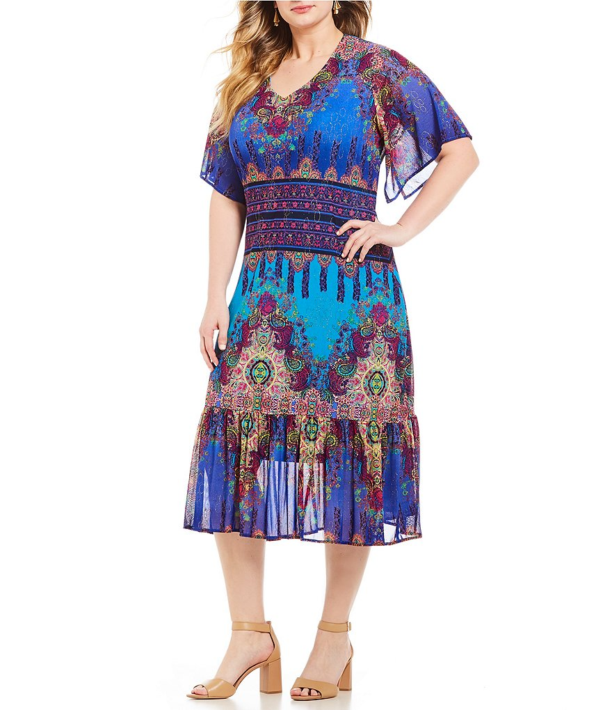 Calessa Plus Paisley Print Dress