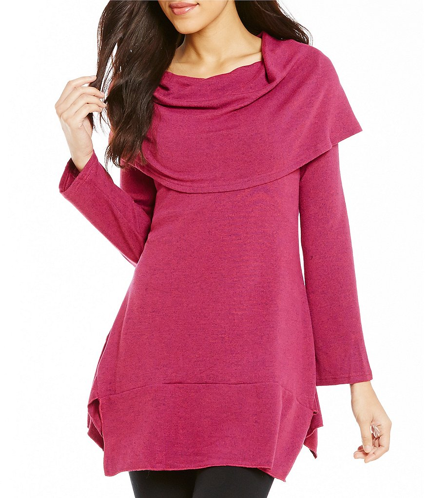 Calessa Shawl Collar Long Sleeve Solid Tunic
