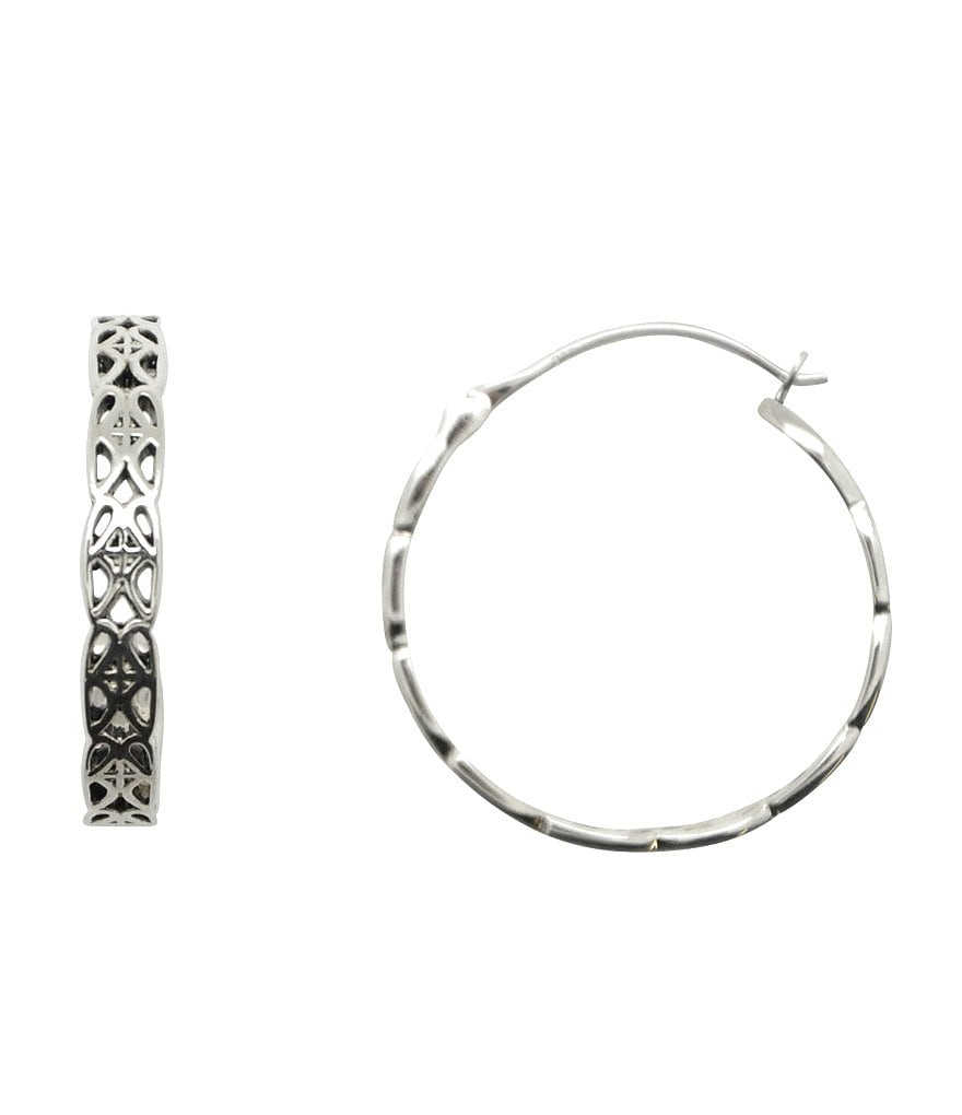 Calvary Signature J Scroll Sterling Silver Hoop Earrings