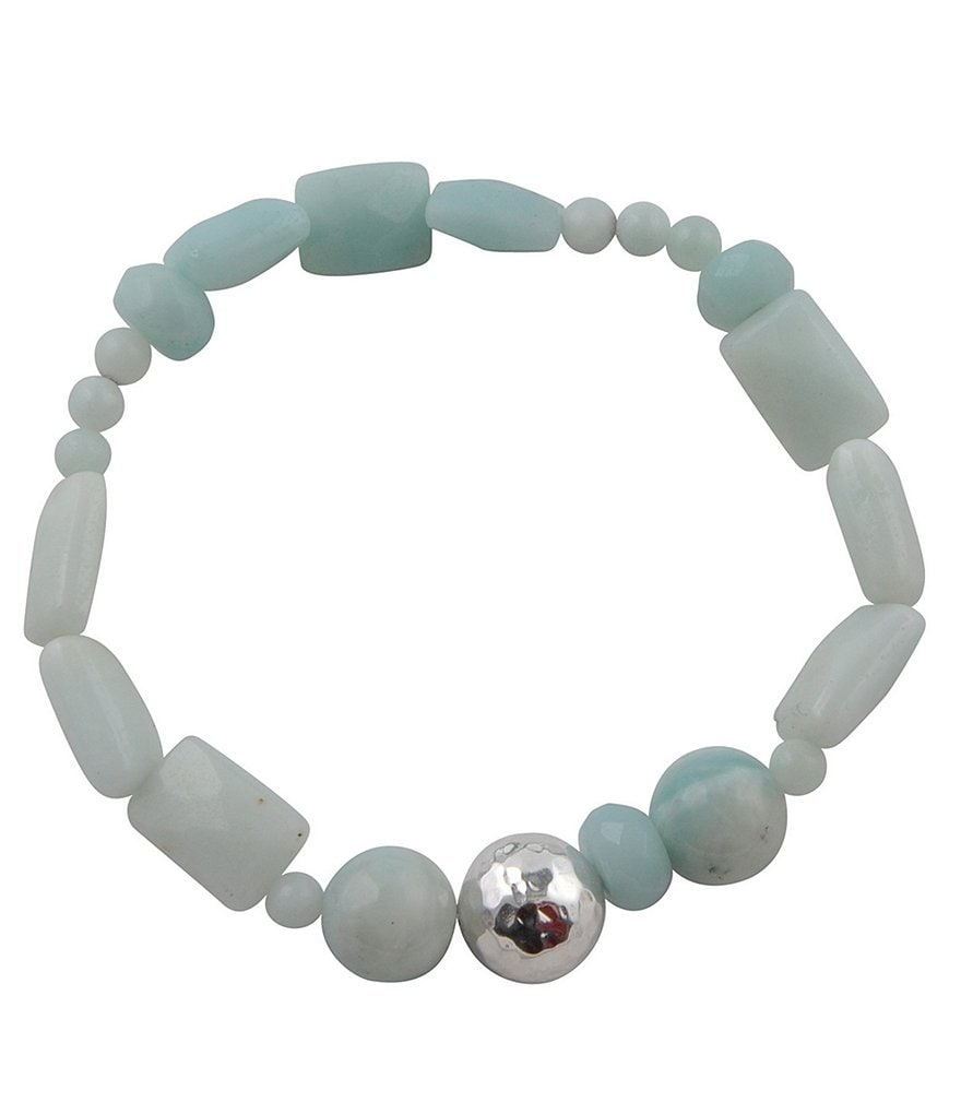 Calvary Sterling Silver & Amazonite Stretch Bracelet