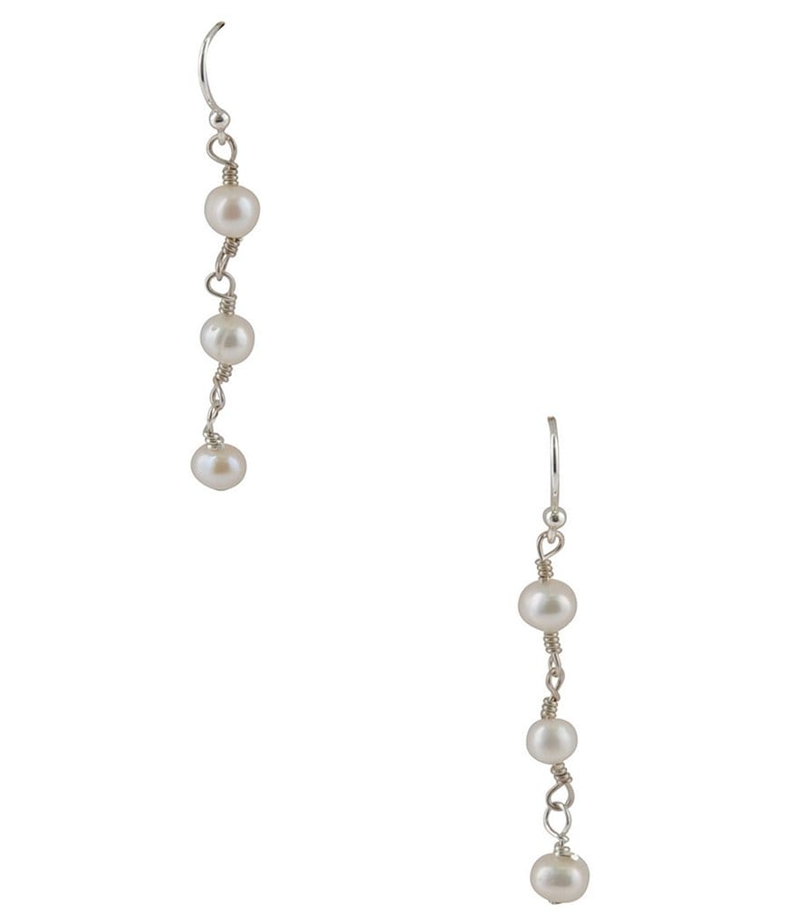 Calvary Sterling Silver & Freshwater Pearl Rosary Bead Linear Drop Earrings