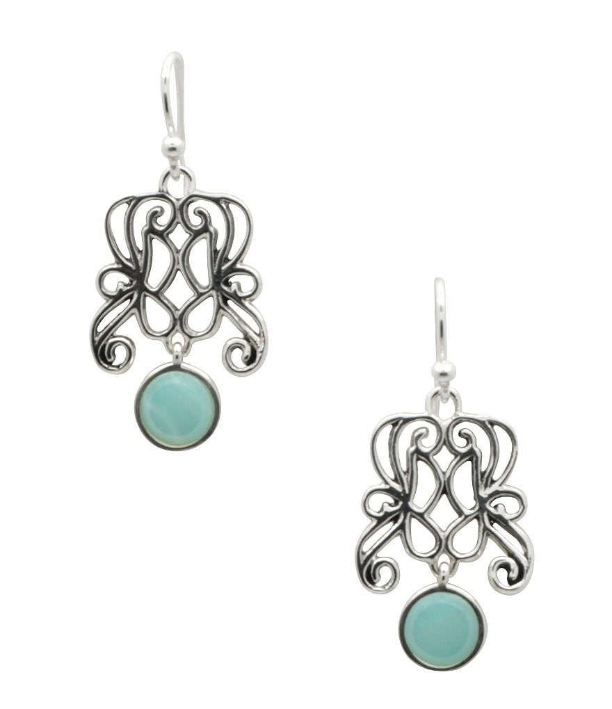 Calvary Sterling Silver and Amazonite Drop Earrings