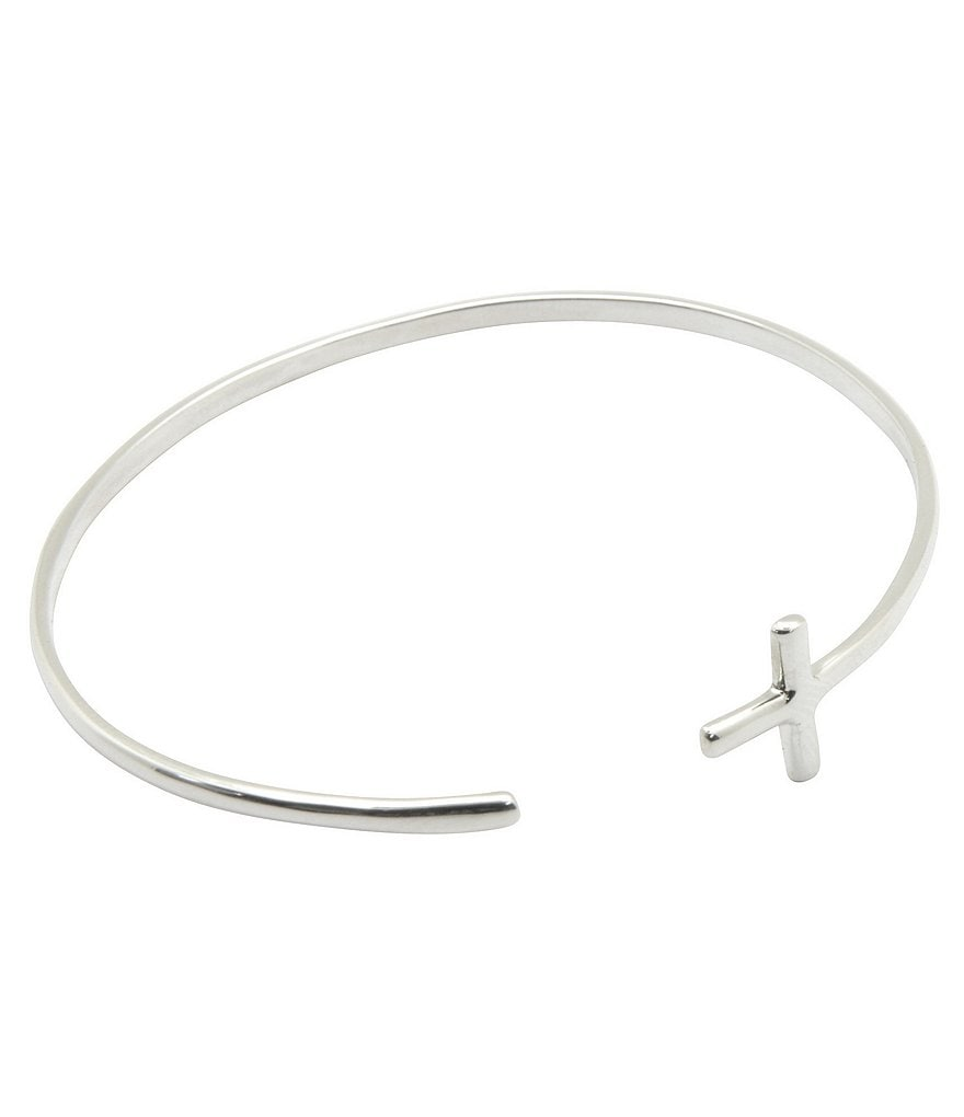 Calvary Sterling Silver Cross Open Cuff Bracelet