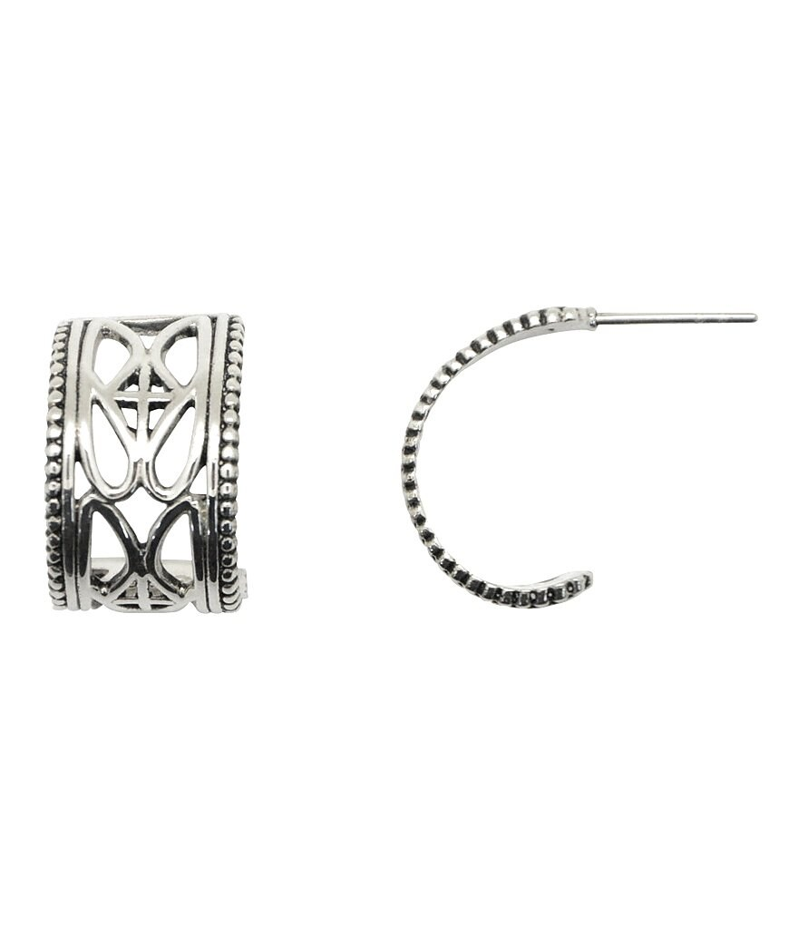 Calvary Sterling Silver J Scroll Hoop Earrings