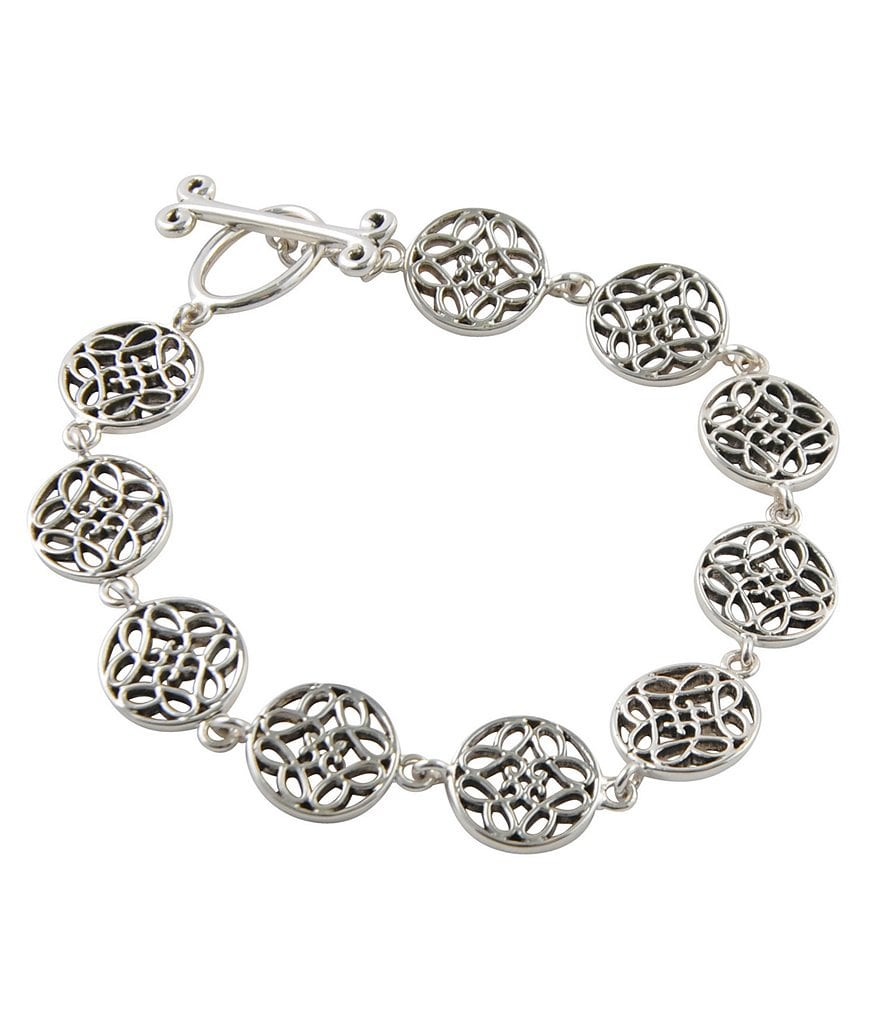 Calvary Sterling Silver J-Scroll Toggle Bracelet