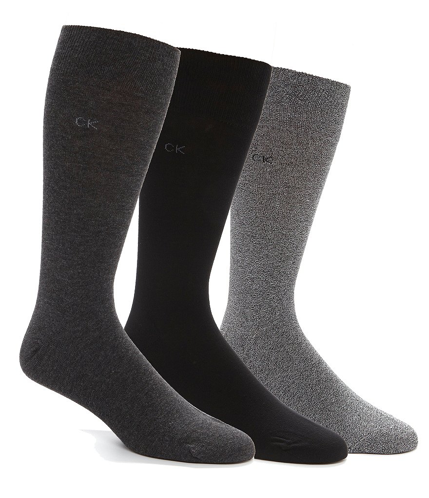 Calvin Klein 3-Pack Flat-Knit Crew Dress Socks