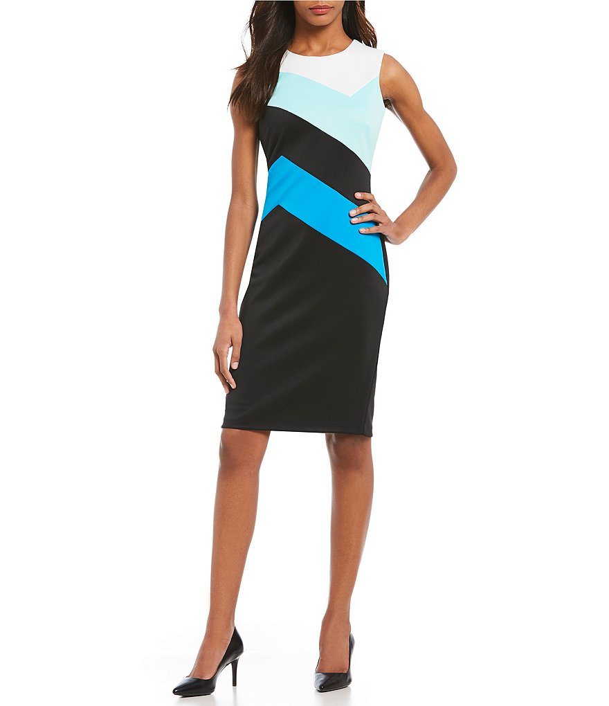 Calvin Klein Asymmetric Colorblock Scuba Crepe Sheath Dress