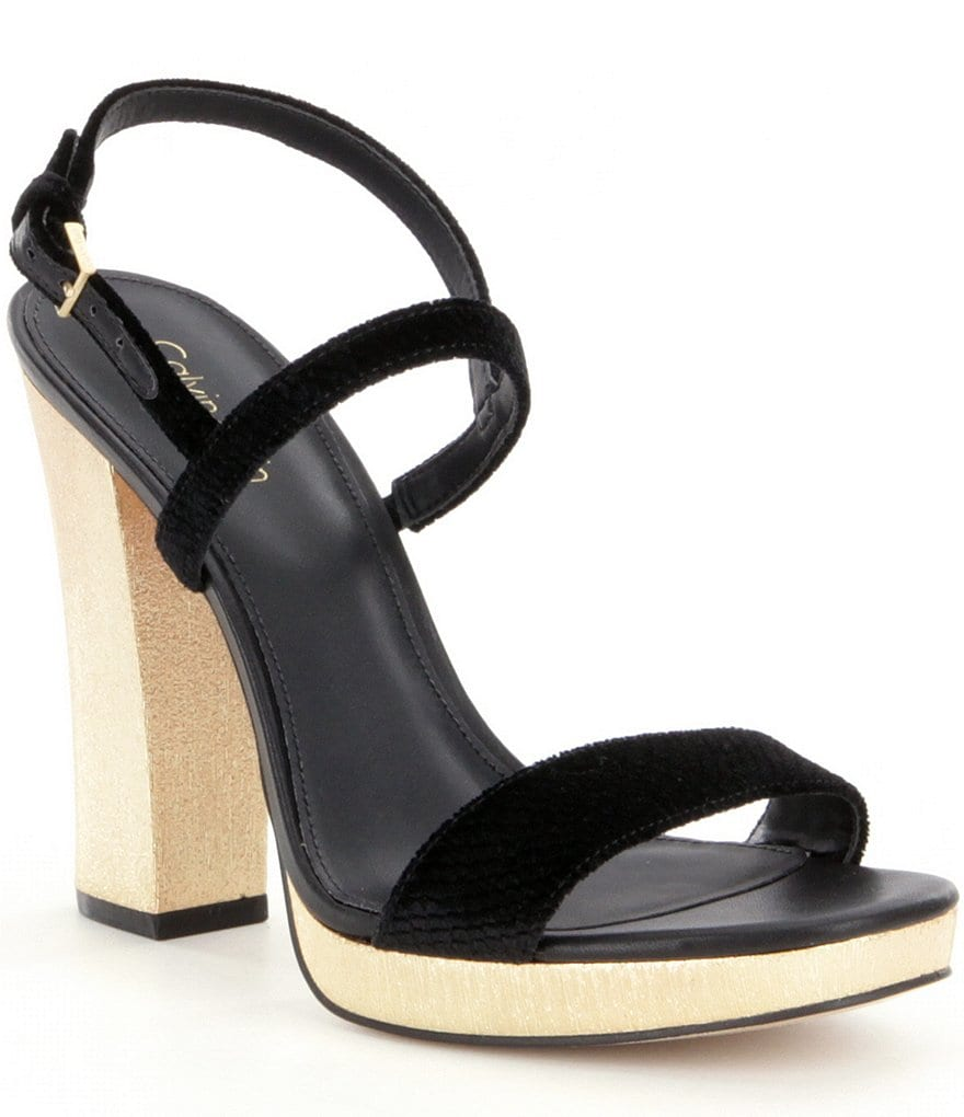 Calvin Klein Velvet Bambii Metallic Block Heel Platform Dress Sandals