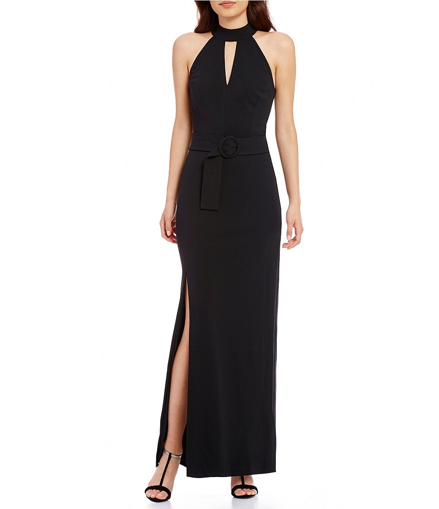 Calvin Klein Belted High Neck Keyhole Gown