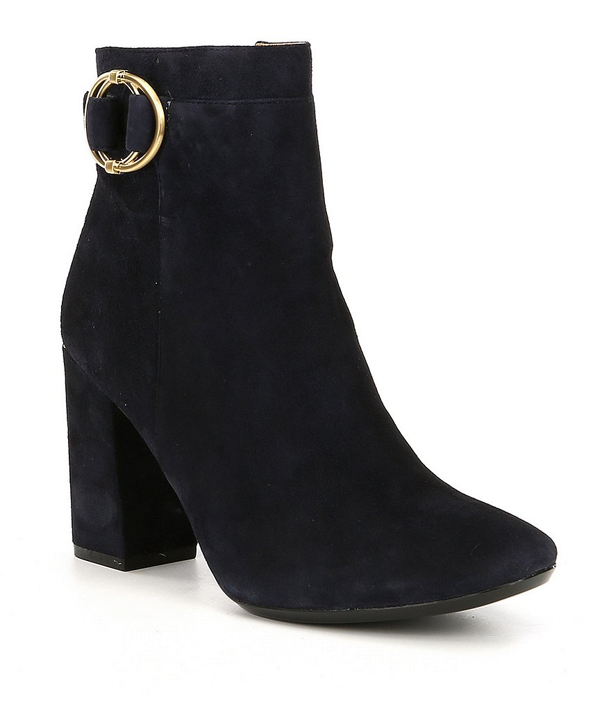 Calvin Klein Cedrica Suede Double Ring Detail Block Heel Booties