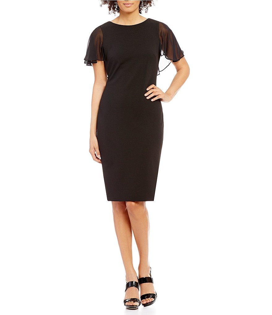 Calvin Klein Chiffon Flutter-Sleeve Sheath Dress