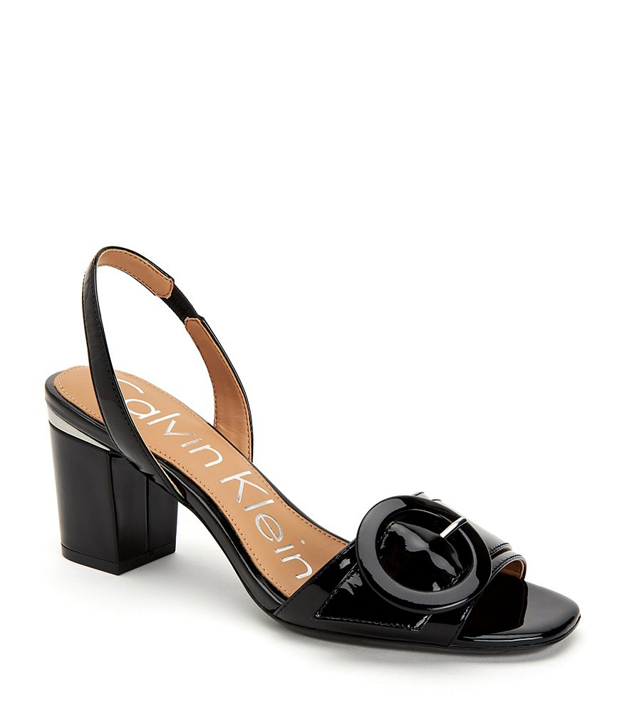 Calvin Klein Claudia Patent Leather Slingback Buckle Block Heel Dress Sandals
