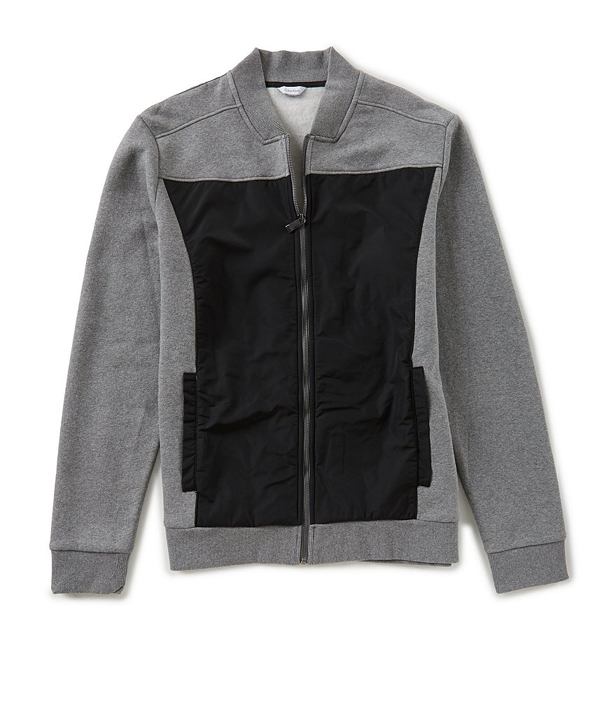 Calvin Klein Contrast Fabric Full-Zip Bomber Jacket