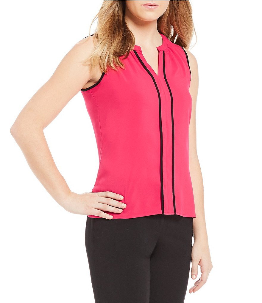 Calvin Klein Contrast Pipe Trim Split V-Neck Shell