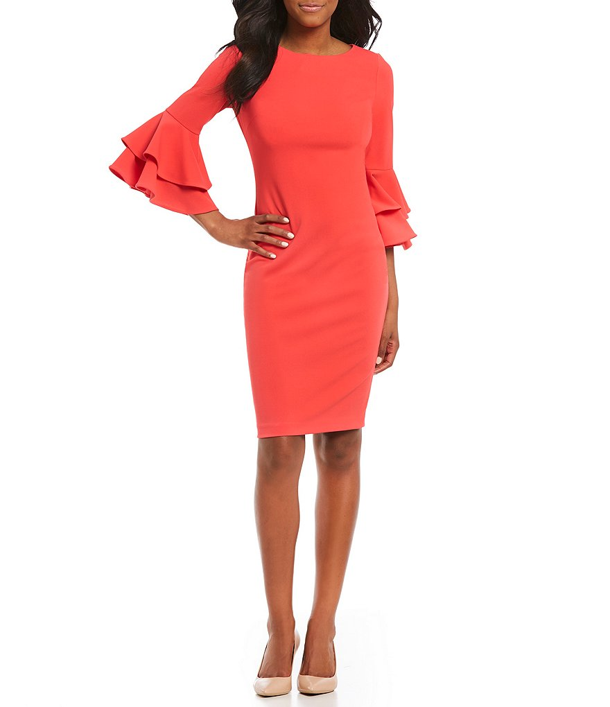Calvin Klein Double Tier Bell Sleeve Dress