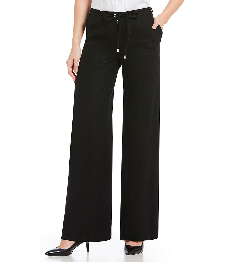 Calvin Klein Drawstring Waist Pleated Wide-Leg Pants