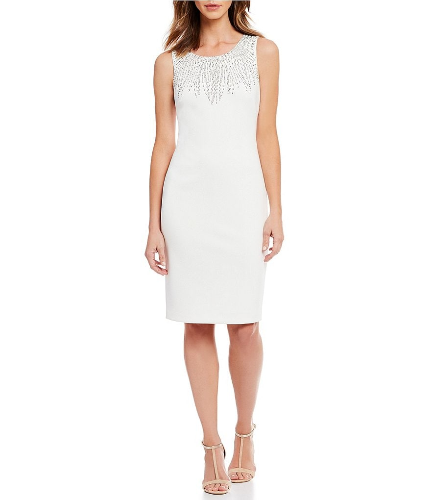 Calvin Klein Embellished Collar Sheath Dress