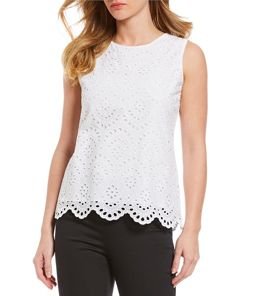 Calvin Klein Embroidered Eyelet Sleeveless Top
