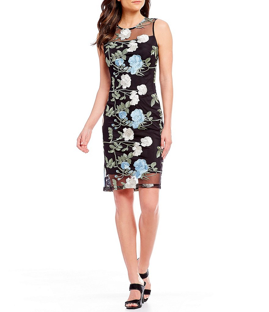 Calvin Klein Embroidered Floral Lace Dress