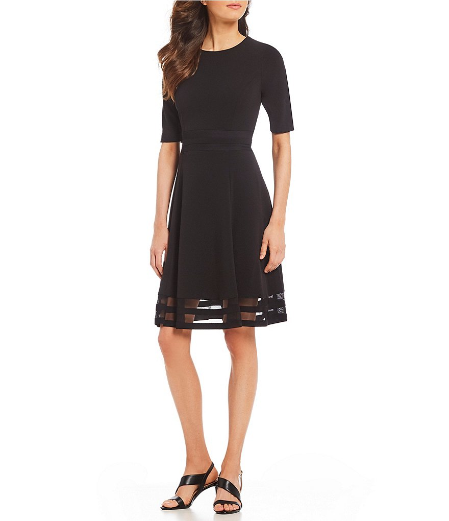 Calvin Klein Fit-and-Flare Short Sleeve illusion Hem Dress