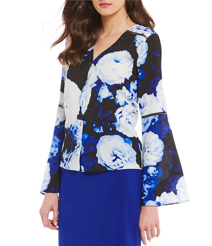Calvin Klein Floral Bouquet Print Long Flare Sleeve V-Neck Top