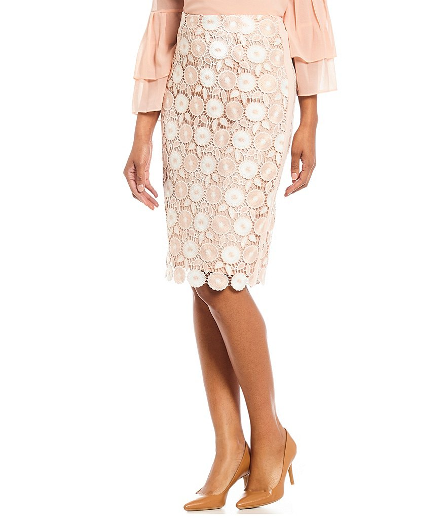 Calvin Klein Floral Crochet Lace Pencil Skirt