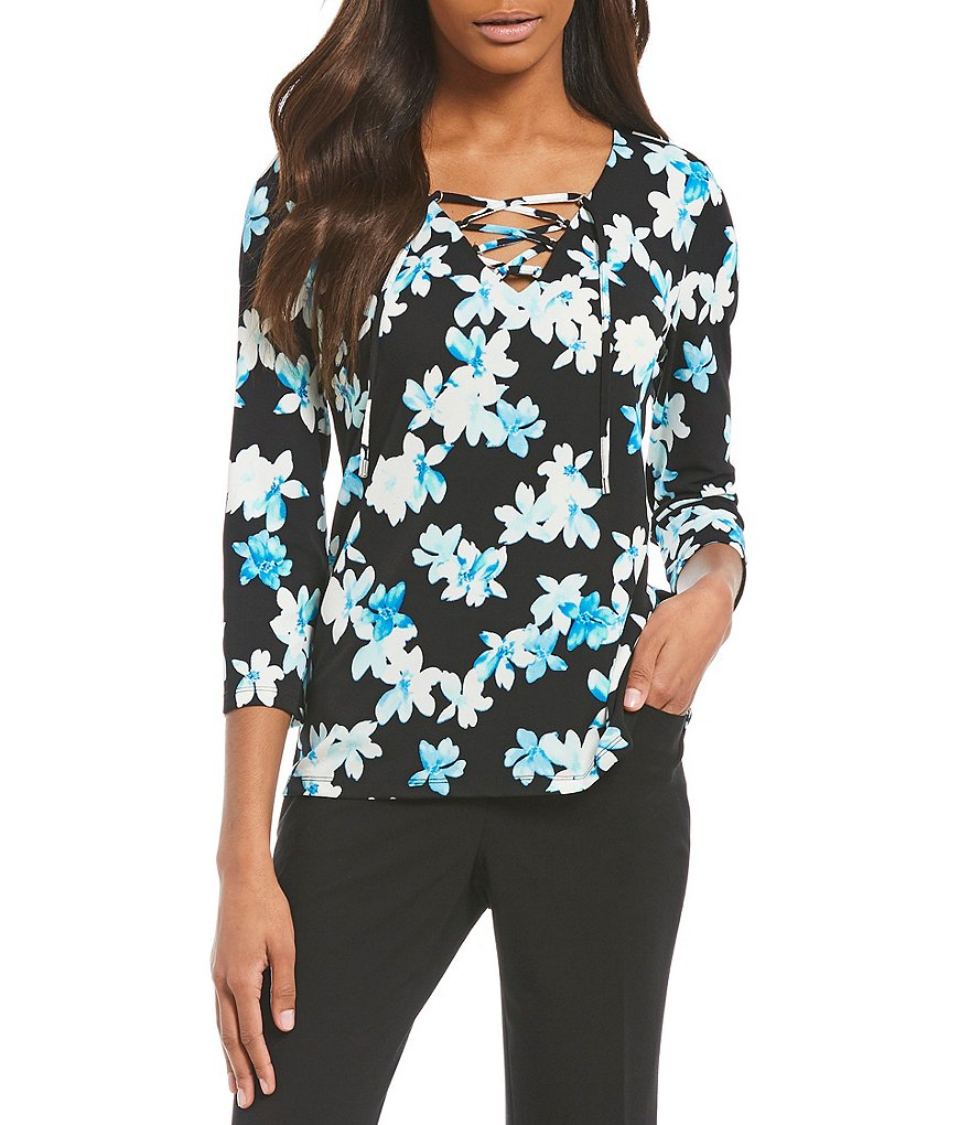 Calvin Klein Floral Print Matte jersey Lace-Up V-Neck Long Flare Sleeve Top