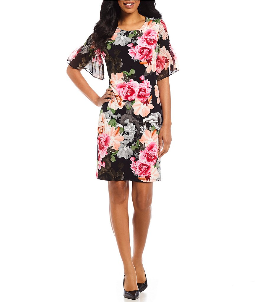 Calvin Klein Floral Print Matte Jersey Smocked Short Bell Sleeve Sheath Dress