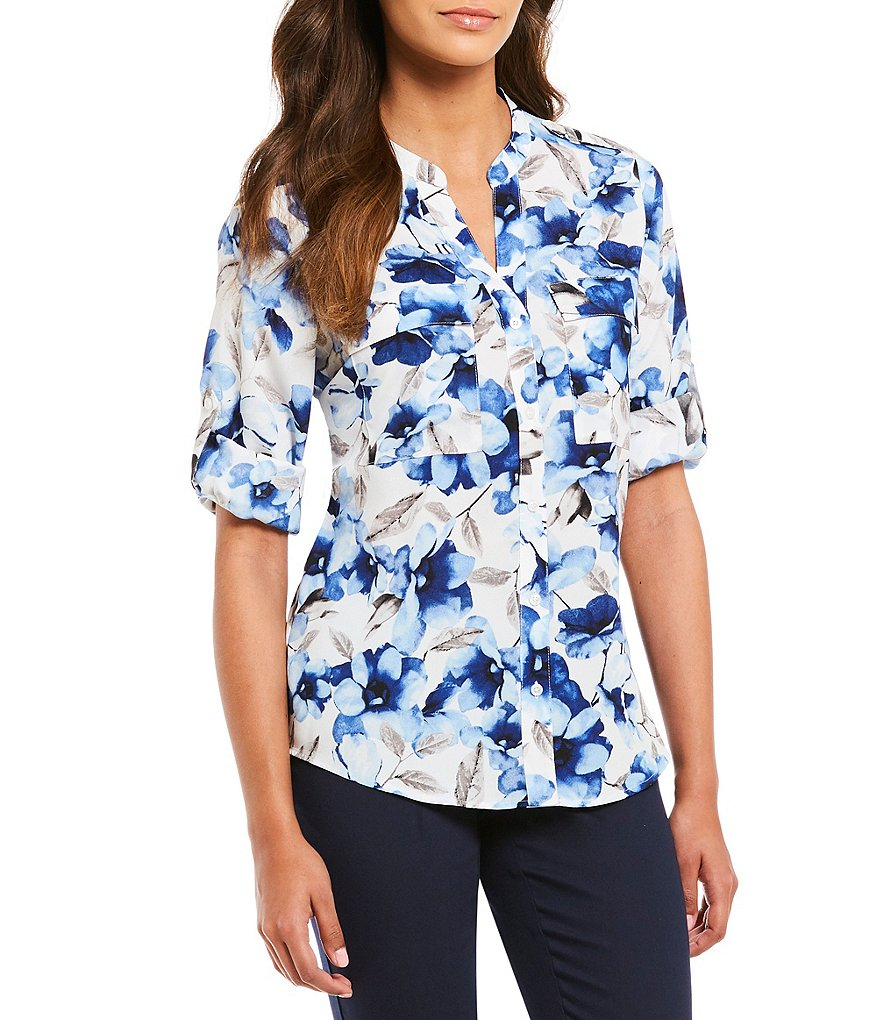 Calvin Klein Floral Print Roll-Sleeve Blouse
