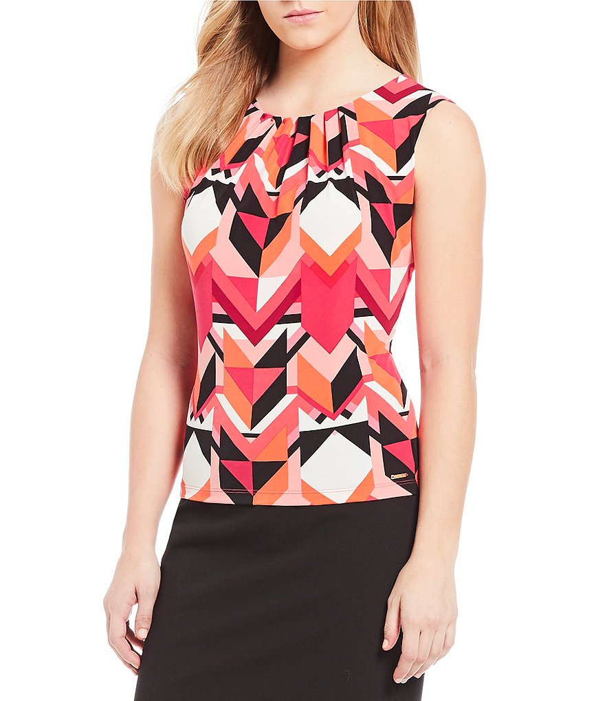 Calvin Klein Geometric Print Matte Jersey Pleat Neck Shell