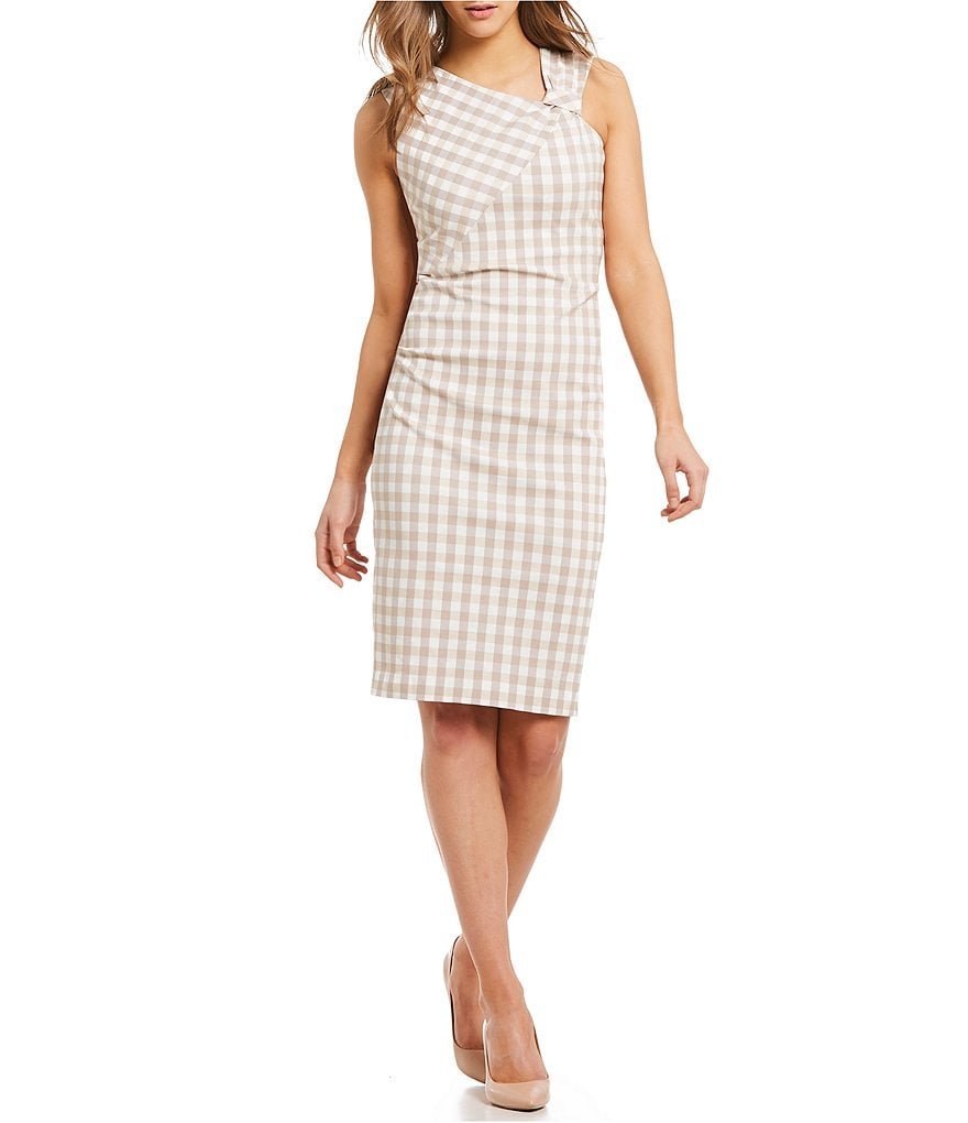 Calvin Klein Gingham Asymmetrical Neck Midi Sheath Dress
