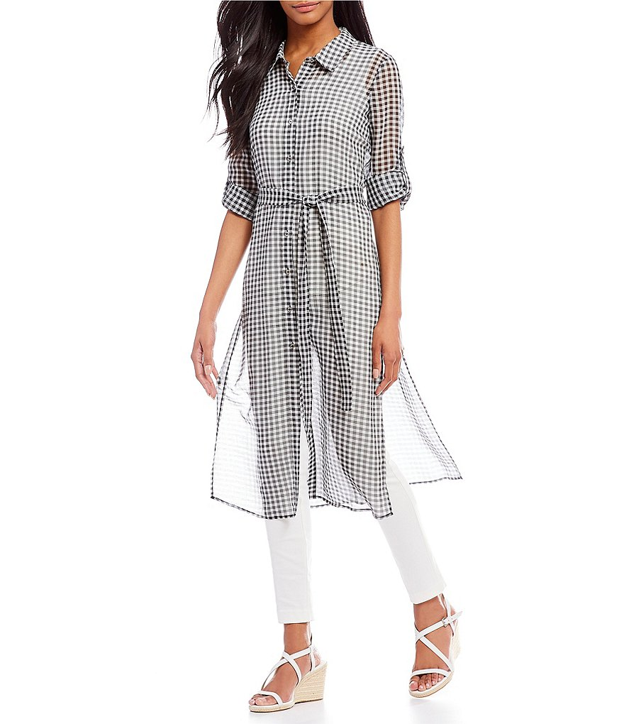 Calvin Klein Gingham Print Voile Roll-Tab Long Sleeve Belted Tunic
