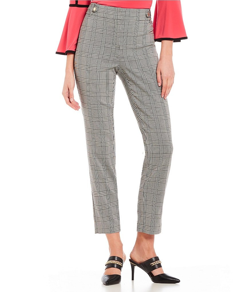Calvin Klein Glen Plaid Stretch Woven Side Waist Tab Trim Pants