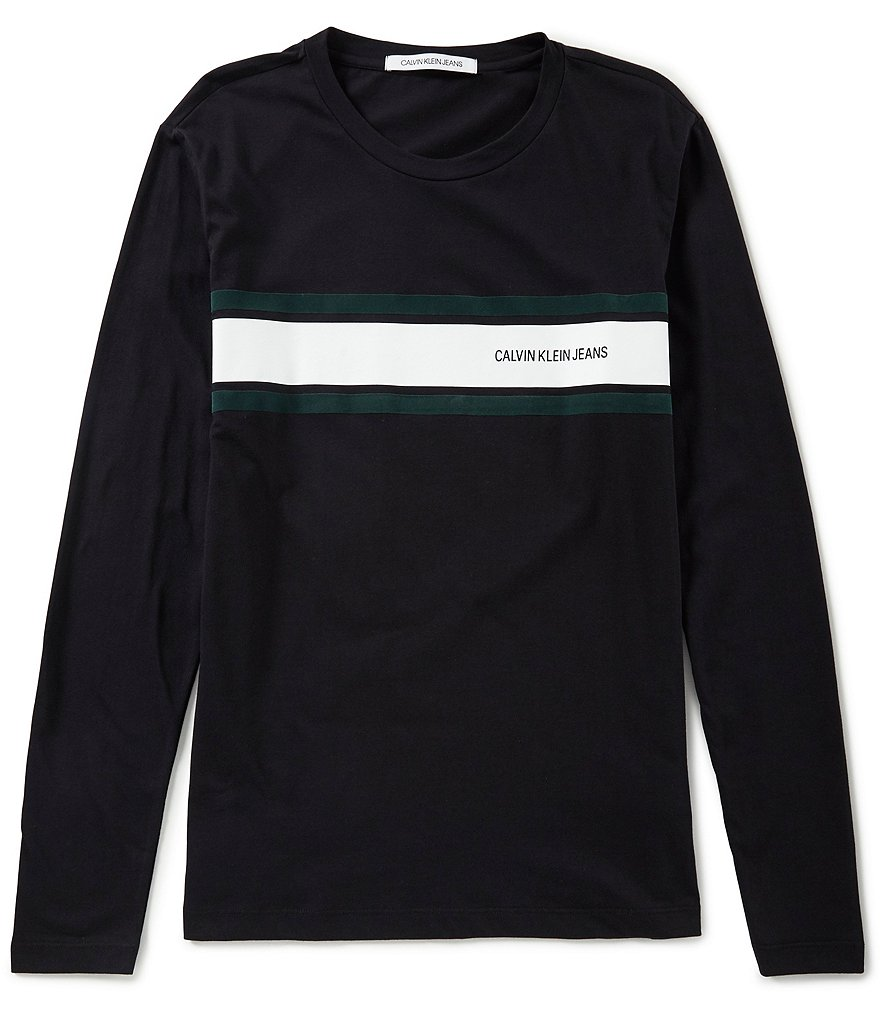 Calvin Klein Jeans Long-Sleeve Logo Placement Stripe Tee