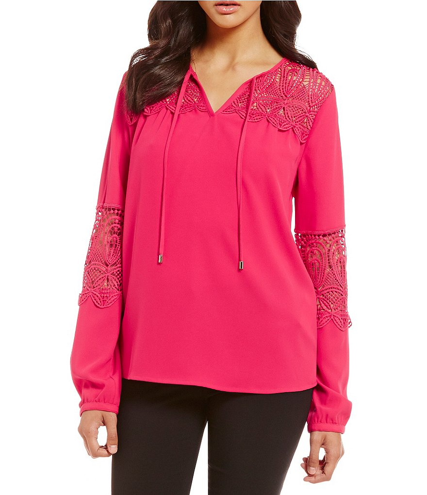 Calvin Klein Lace Detailed Peasant Top
