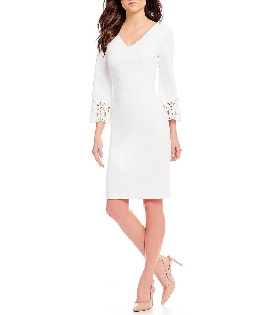 Calvin Klein Laser Cut-Out Bell Sleeve Sheath Dress