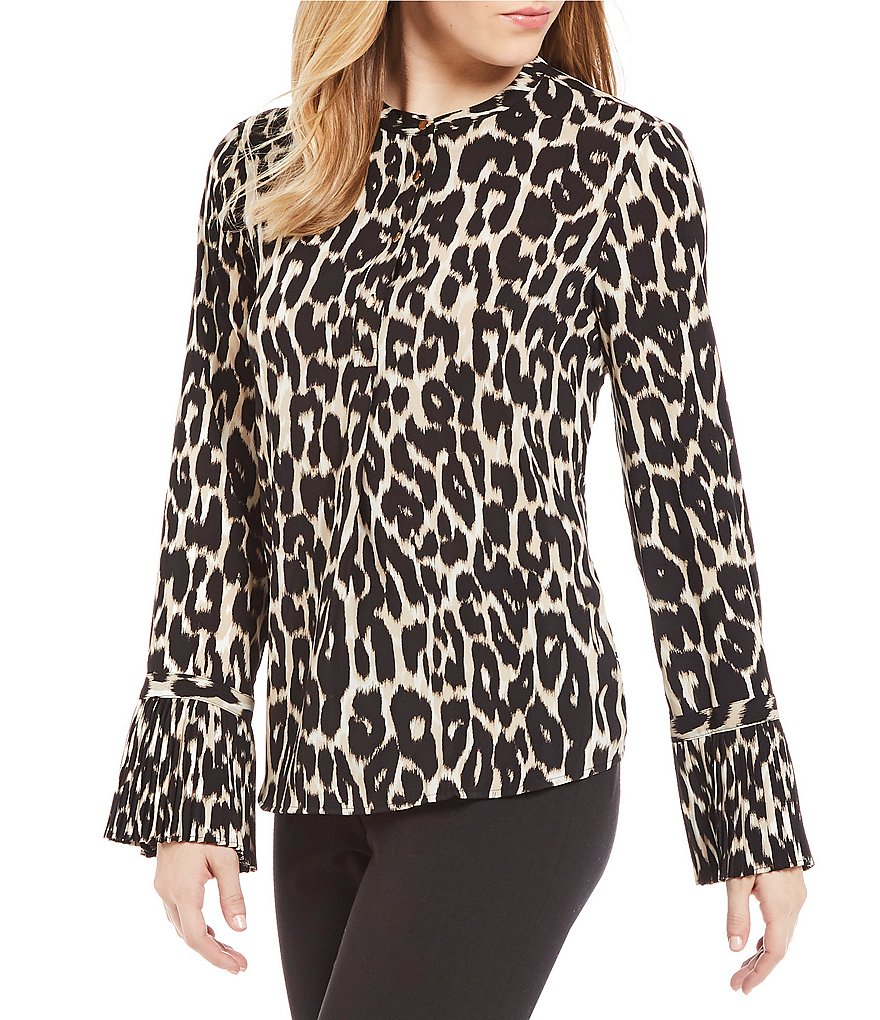 Calvin Klein Leopard Print Long Sleeve Pleated Bell Cuff Blouse
