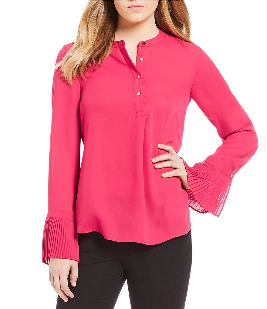 Calvin Klein Long Sleeve Pleated Bell Cuff Georgette Blouse