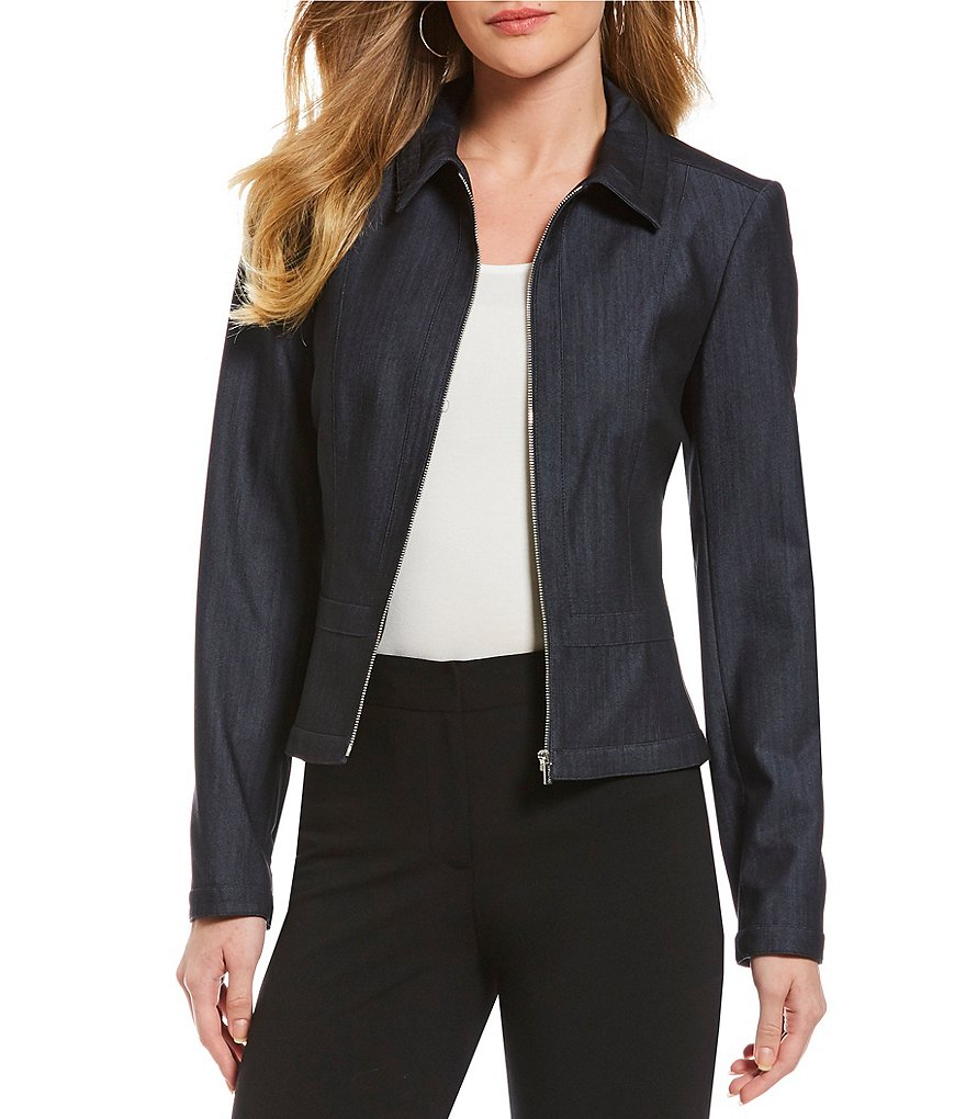 Calvin Klein Lux Stretch Dressy Denim Suiting Zip-Front Jacket