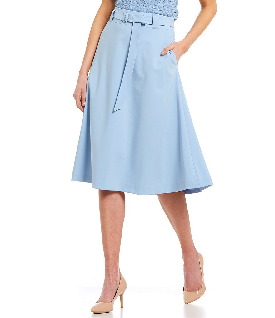 Calvin Klein Lux Stretch Suiting Belted A-Line Midi Skirt