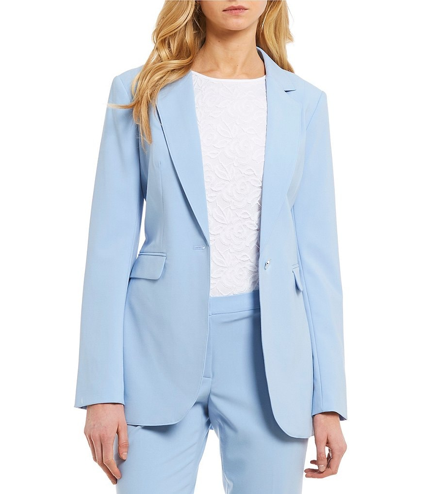 Calvin Klein Luxe Stretch Suiting One-Button Long Jacket