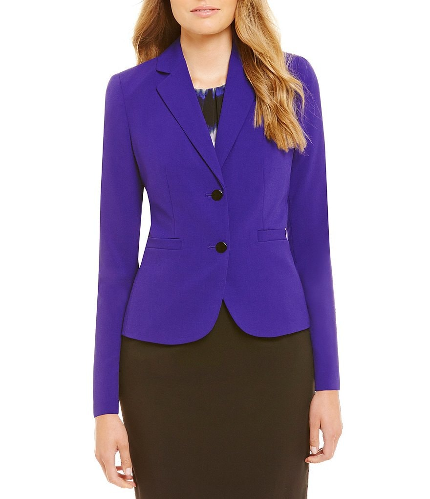 Calvin Klein Luxe Stretch Two-Button Padded Shoulder Suit Jacket