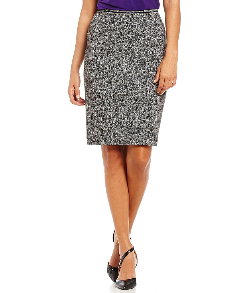Calvin Klein Back Vent Lined Marled Boucle Pipe Trim Pencil Skirt
