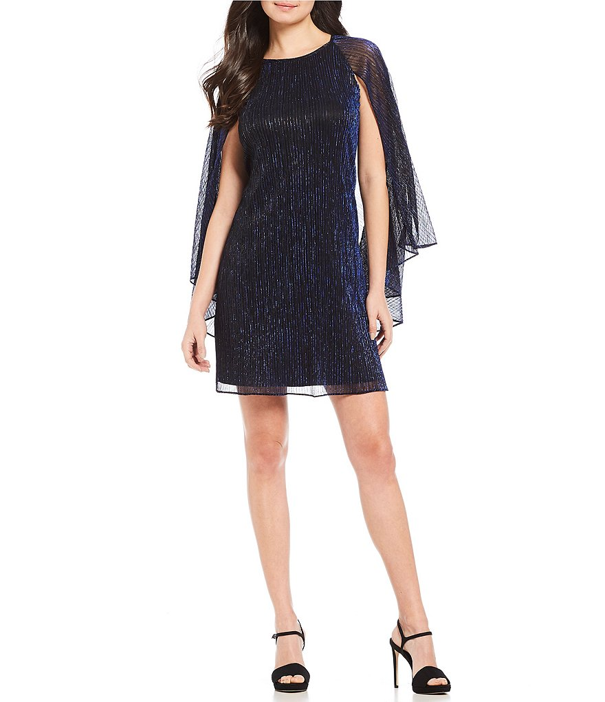 Calvin Klein Metallic Crinkle Cape Shift Dress