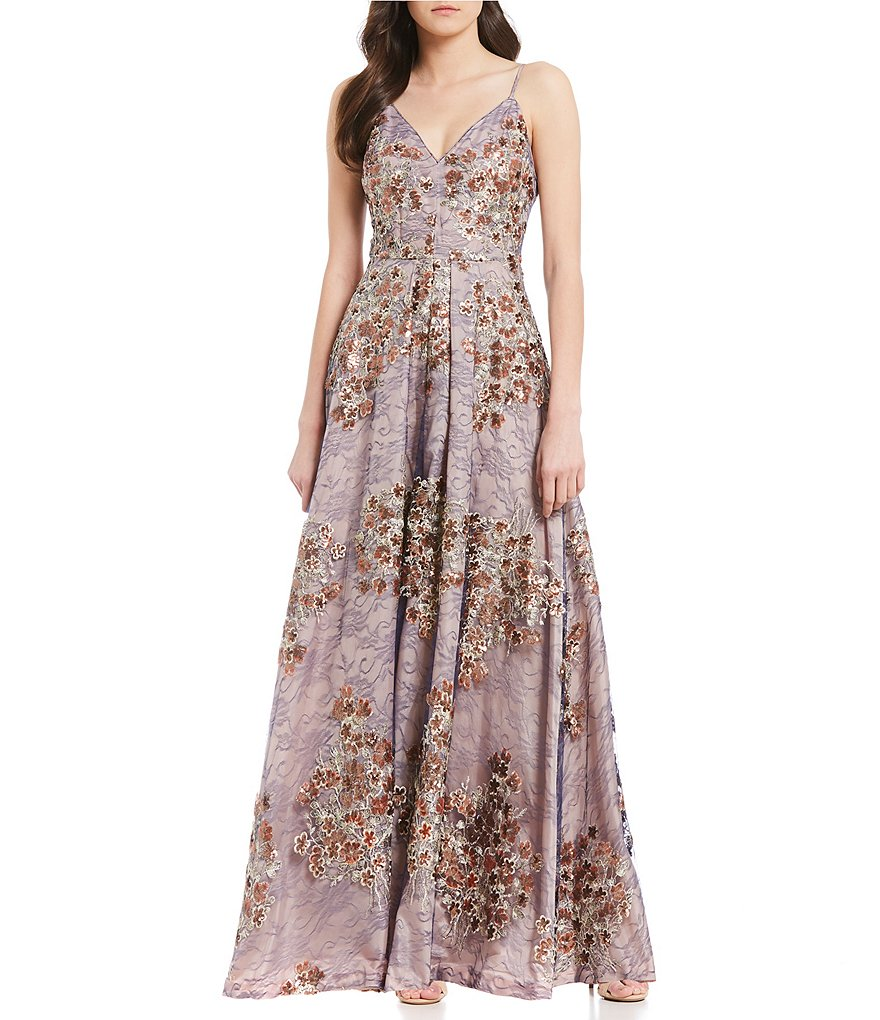 Calvin Klein Metallic Floral Embroidered Gown