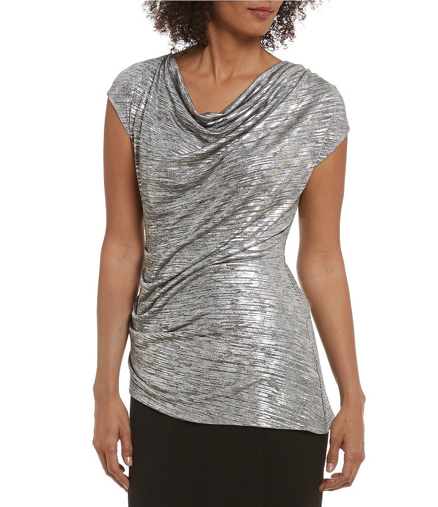 Calvin Klein Metallic Knit Drape Neck Angle Bottom Hem Top