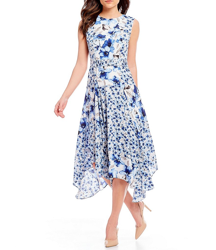 Calvin Klein Mixed Floral Print Patchwork Belted Fit-and-Flare Handkerchief Hem Dress