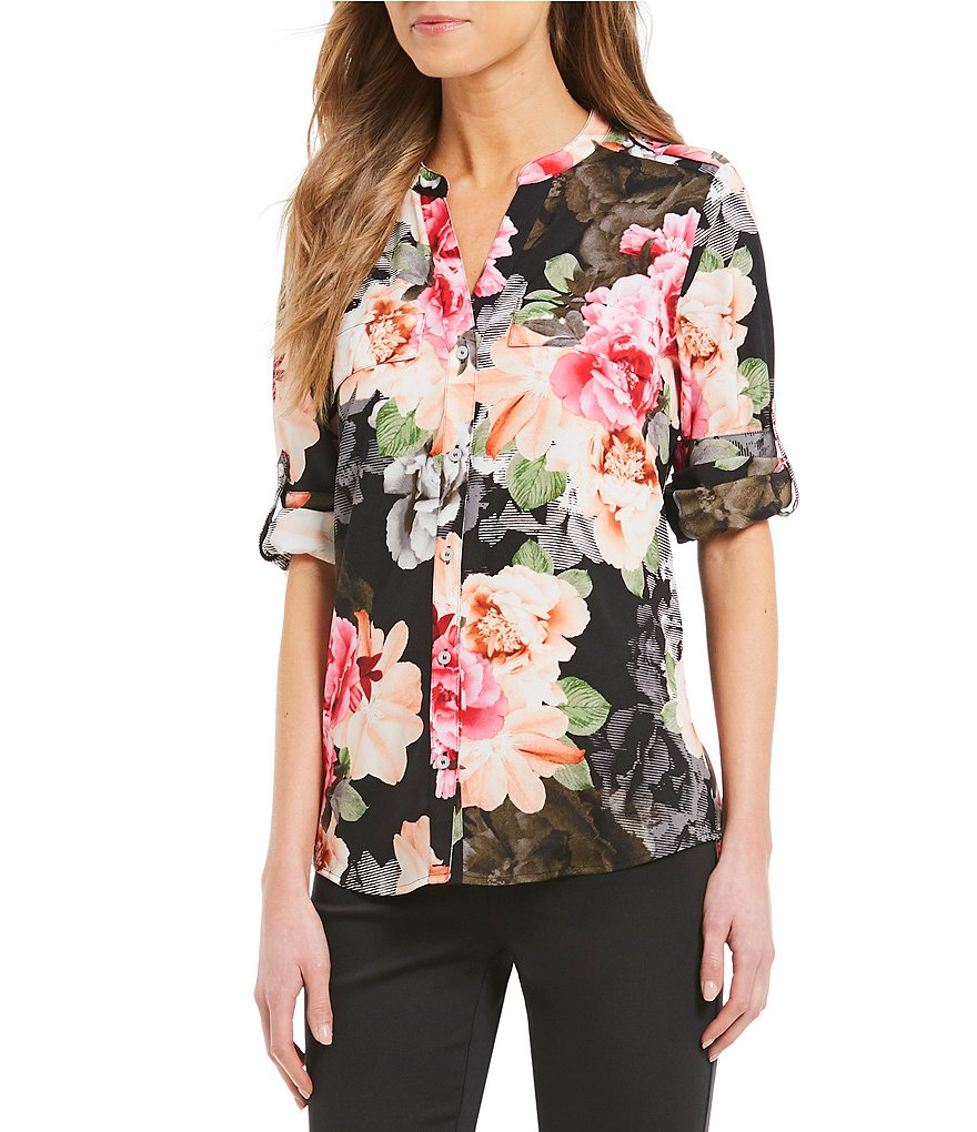 Calvin Klein Mixed Floral Print Roll-Sleeve Blouse